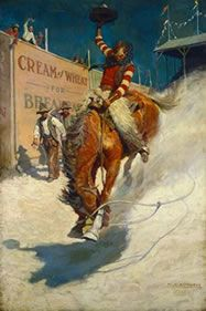 """ADVERTISING ART: Artist of the times often painted illustrations for commercial advertisements. NC Wyeth 's """"Cream of Wheat"""" western."""