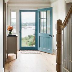 Blue Front Door with Blue Screen Door – Cottage – Entrance/foyer - Home Decoration Front Door With Screen, Front Door Entrance, Exterior Front Doors, Entrance Foyer, Front Door Colors, Glass Front Door, Entryway Decor, Door With Window, Glass Screen Door
