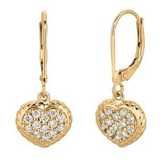 Fine diamond heart dangle drop earrings accented with fine diamonds. The diamonds weigh a total of and set in high polished rose pink gold. Diamond Earing, Diamond Drop Earrings, Diamond Heart, Ring Earrings, 14k White Gold Earrings, Hanging Earrings, Screw Back Earrings, Pink And Gold, Dangles