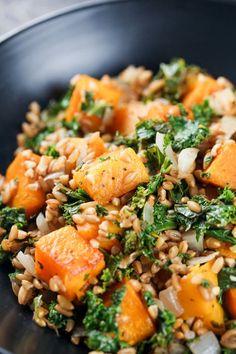 Kale Butternut Squash Farro Salad