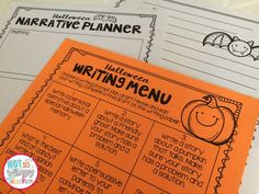 FREE Halloween Writing Menu - Not So Wimpy Teacher