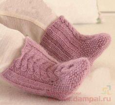 Теплые пинетки-носочки (Вязание спицами)