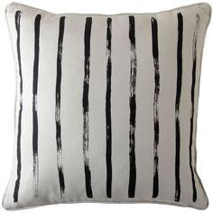Brush Stripe Pillow - Sand with Black