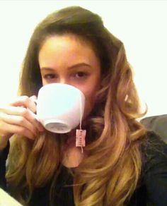 Danielle drinking tea in her latest keek ☺