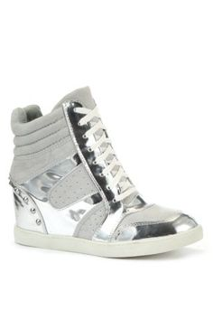 New Look Mobile | Grey Silver Stud Concealed Wedge Trainers