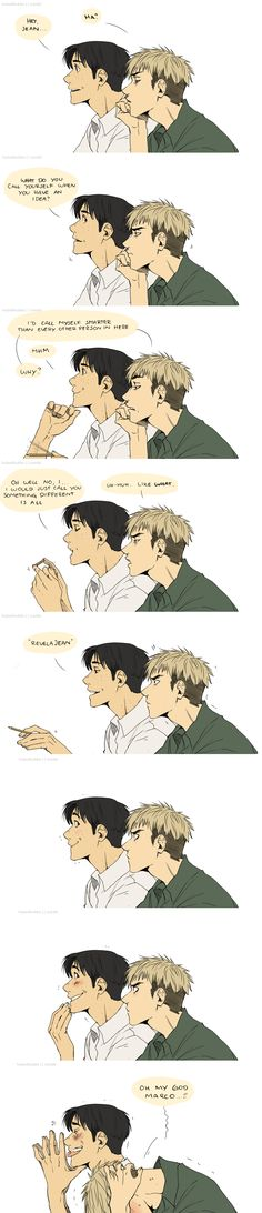 Jean and Marco in class making bad puns. The art style for this is really good.