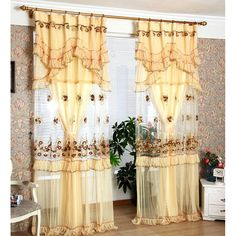 Champagne Yarn Sheer Curtains (No Valance) Sheer Curtain Panels, Sheer Curtains, Panel Curtains, Valance, Luxury Homes Interior, Home Interior Design, Floral Embroidery, Champagne, Fabric
