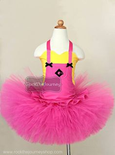 Girl Pink Minion Tutu Outfit-Halloween by RockTheJourney on Etsy