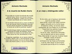""""""" A la muerte de Rubén Darío"""" , en este poema Antonio Machado muestra la pena por la muerte de su gran amigo Rubén Darío, el cuál este lo compraba con Dionysos."""