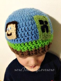 Minecraft Hat Beanie Creeper Steve by xoxoTouchOfLovexoxo on Etsy, $18.00
