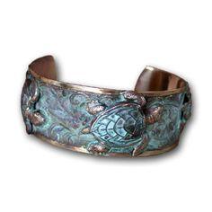 Classic Sea Turtle Cuff Bracelet - Verdigris Patina Brass