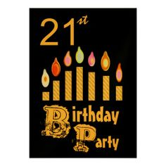 21st Birthday Party Invitation - GOLD