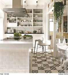 Crisp white Kitchen with geometric tile floor | mosaic usa...
