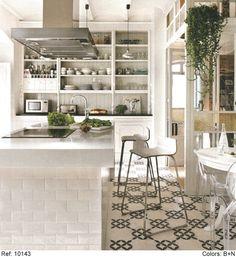 Crisp white Kitchen with geometric tile floor | mosaic usa...