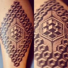 Dotwork/geometric style calf tattoo. By Alx Bizar.