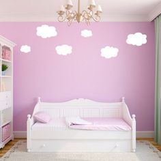 Cheap Wall Decals -  Cute Small Clouds Wall Decals in Little Girls Room Clouds Wall Decals   Alternative Choice Who Love Simple Design #KidsWalldecals #walldecals #walldecors #wallarts #wallstickers