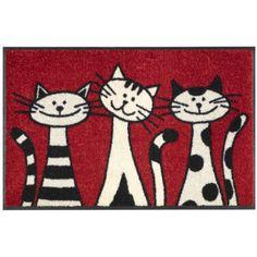 Wash Dry 030812 Door Mat 50 x 75 cm with Three Cats Motif Art Fantaisiste, Cat Quilt, Cat Cards, Cat Drawing, Cat Design, Whimsical Art, Stone Art, Crazy Cats, Rock Art