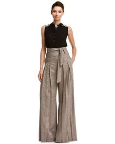 L.A.M.B. Toffee Combo Cross Dyed Linen High Waisted Pant $84.90