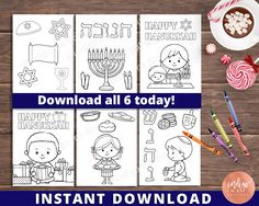 Excited to share the latest addition to my shop: Hanukkah Coloring Pages Hannukah, Feliz Hanukkah, Hanukkah Crafts, Happy Hanukkah, New Year Holidays, Holidays And Events, Winter Holidays, Menorah, Coloring Sheets