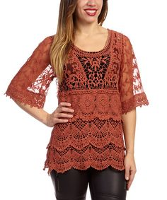 Look what I found on #zulily! Rust Corset-Back Linen-Blend Top - Women by Pretty Angel #zulilyfinds