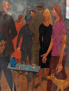 Gregoire Michonze. Figures. Gouache on paper laid on canvas. 35x27cm.
