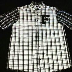 Short Sleeve Button Up Polo Wht/Blk Plaid