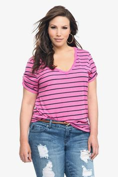 Twist Tees - Pink Striped Twisted V-Neck Tee