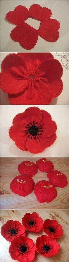 fabric poppies ...♥ Deniz ♥ Button Flowers, Felt Flowers, Diy Flowers, Fabric Flowers, Hobbies And Crafts, Crafts To Make, Poppy Craft, Poppy Brooches, Poppy Pattern