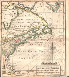 """The English Empire in America, Newfoundland Hudson Bay""""  A very handsome and extremely rare map of the Eastern Seaboard of North America with a great early view of the America Colonies. Also shows the 5 Nations of the Iroquios. All of the early towns, cities, English Forts, Bays, and rivers that were known at that point in time are indicated including the first town ever established in America - James Town."""
