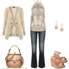 Great style using tan as the main color. Love the tan purse and the strappy wedges