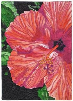 Hibiscus - by Susan Brubaker Knapp - It is based on an original photo, and was painted on white fabric using acrylic textile paints, then quilted