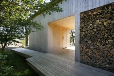 Modern Villa Design of Naantali Finland: Rustic Exterior Design At Villa Mecklin With Wooden Floor And Plank Wall Also With Lodge And Leafy Tree Beside The House ~ SFXit Design Villa Inspiration Patio Interior, Interior Exterior, Exterior Paint, Exterior Design, Rustic Exterior, Modern Interior, Scandinavian Architecture, Modern Architecture House, Architecture Design