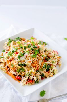 Thai Chicken Salad with Ginger Lime Dressing - This healthy Thai salad recipe is packed with flavor and texture! Naturally gluten free and peanut free, this is a healthy meal you won't want to miss.