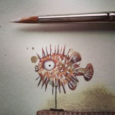 Tiny blowfish. #childrensbook #illustration #drawing #art #illustrator #illustratorlife #inkonpaper #mixedmedia #blowfish #stuffed #fish #pencil #fabercastellpolychromos