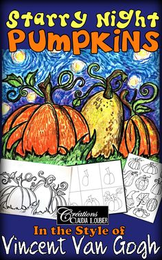 Here is an art project that highlights the arrival of autumn while also discovering Vincent Van Gogh Art Halloween, Halloween Art Projects, Fall Art Projects, Classroom Art Projects, Halloween Painting, School Art Projects, Art Classroom, Halloween Games, Vincent Van Gogh
