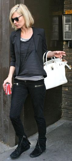 Kate Moss black jeas and boots+striped black and white top+sheer blouse over it+black short jacket+white bag