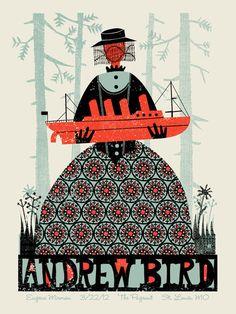 Andrew Bird concert poster by Methane Studios - Methane Studios - Gallery