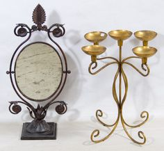 Lot 702: Decorative Candle Stand and Mirror; Two items including a five light gold painted metal candle holder and a cast metal pivoting shaving mirror