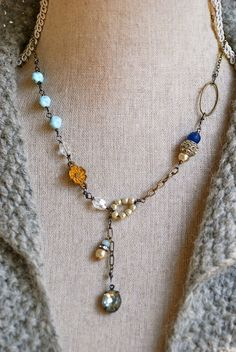Elise. romantic,rhinestone pearl beaded,blue sapphire drop necklace.