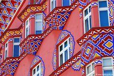 A very colorful building in Ljubljana, Slovenia