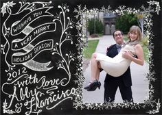 black and white chalkboard Holiday card idea