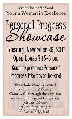 LDS Young Women: YWIE - Personal Progress Showcase