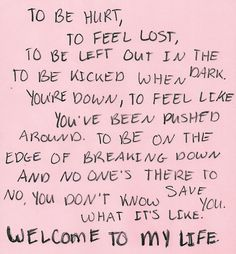 Welcome to My Life ♥ -Simple Plan. No matter how many songs I hear, this is by far my favorite song. Band Quotes, Lyric Quotes, Me Quotes, Break Uo Quotes, Heartbreak Quotes, Sweet Quotes, Qoutes, Indie, Feeling Lost
