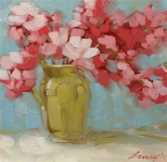 floral painting with warm pink, blush pink, old white, soft grayish blue, old white color palette...LaveryArt
