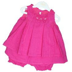 Eye catching fuschia pink dress and bloomers.  So pretty in pink! www.violetagnes.co.uk
