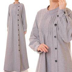 Grey Abaya Maxi Dress Long Sleeve Grey Shirtdress Long
