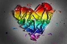 Rainbow glass heart <3 it