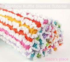Free Rainbow Ruffle Blanket Pattern. Good demo of last and first stitches in a row and changing colors