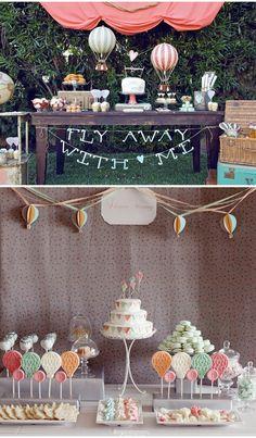 hot air balloon decorated Candy Buffet.