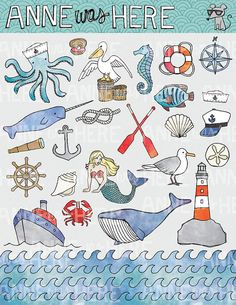 Illustrated Nautical / Ocean / Sea Doodles  Digital by AnneWasHere, $5.00